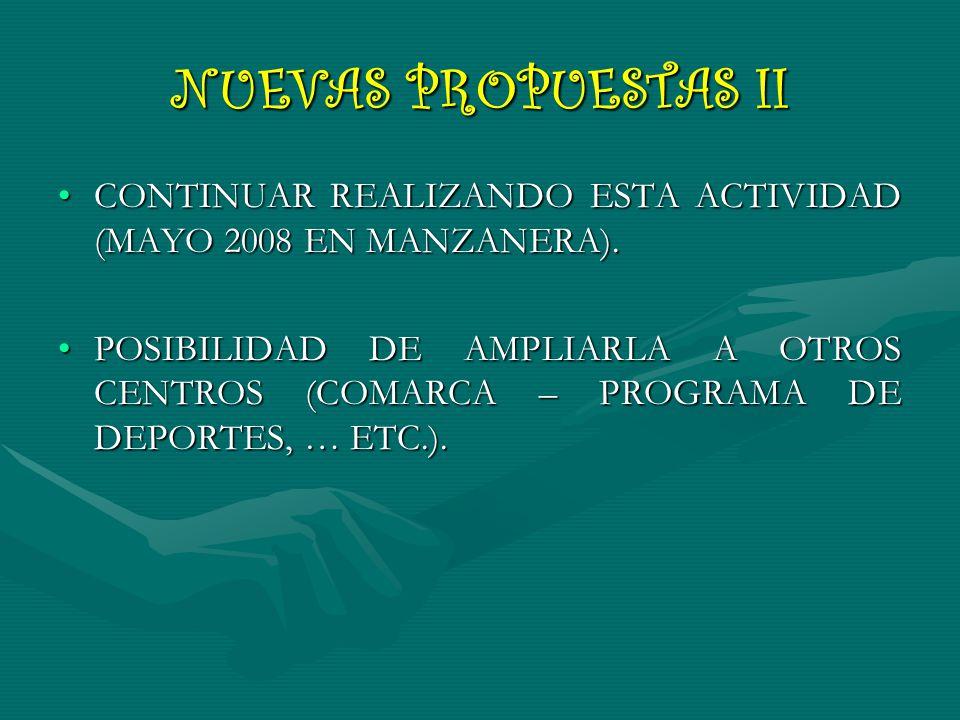NUEVAS PROPUESTAS II CONTINUAR REALIZANDO ESTA ACTIVIDAD (MAYO 2008 EN MANZANERA).