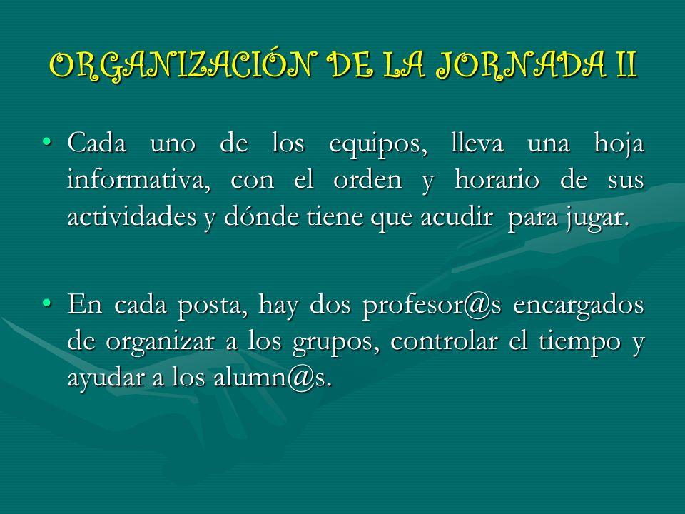 ORGANIZACIÓN DE LA JORNADA II