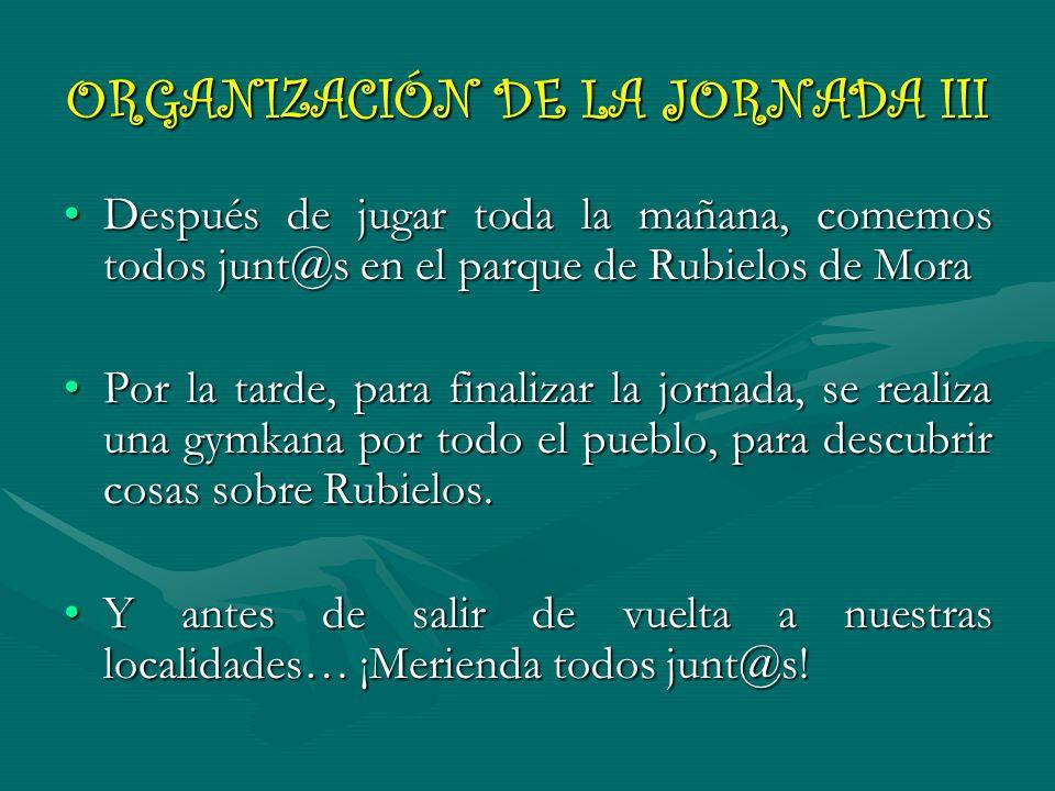 ORGANIZACIÓN DE LA JORNADA III