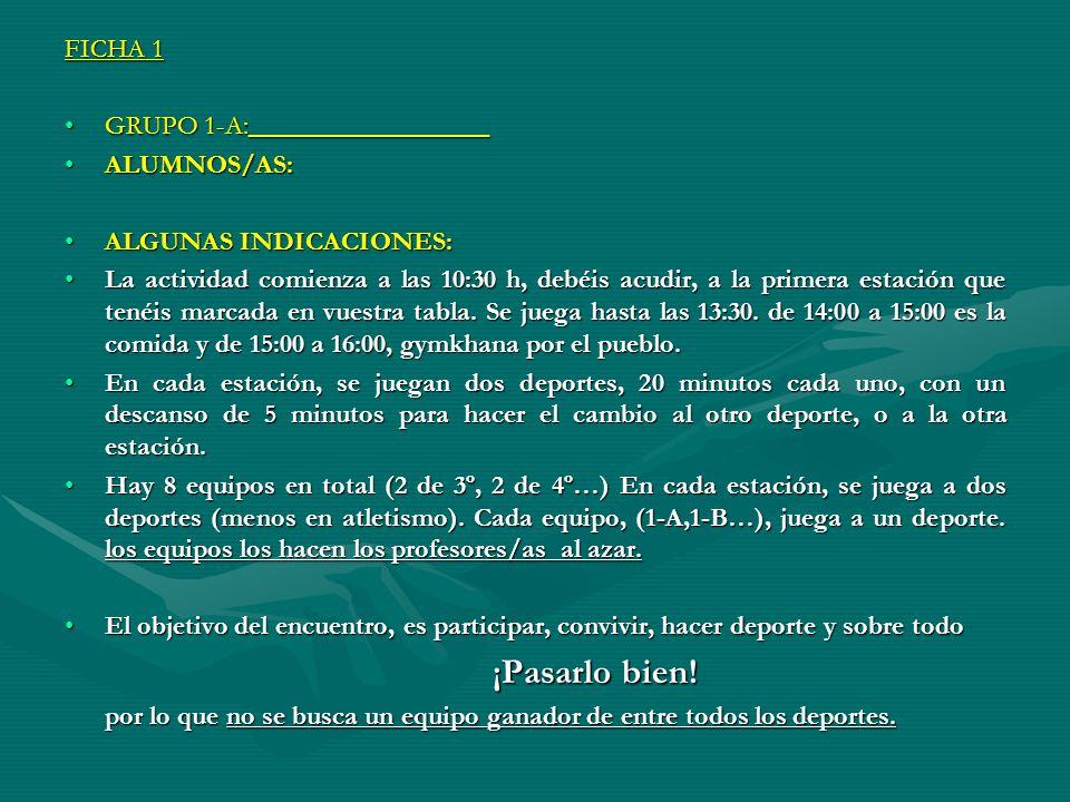 FICHA 1 GRUPO 1-A:__________________. ALUMNOS/AS: ALGUNAS INDICACIONES: