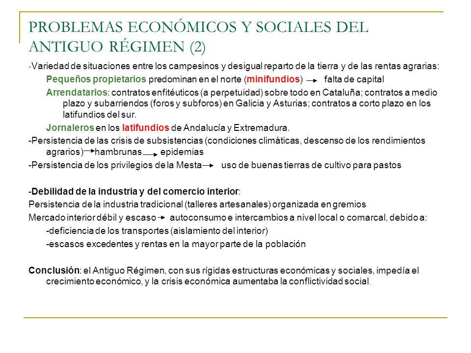 PROBLEMAS ECONÓMICOS Y SOCIALES DEL ANTIGUO RÉGIMEN (2)