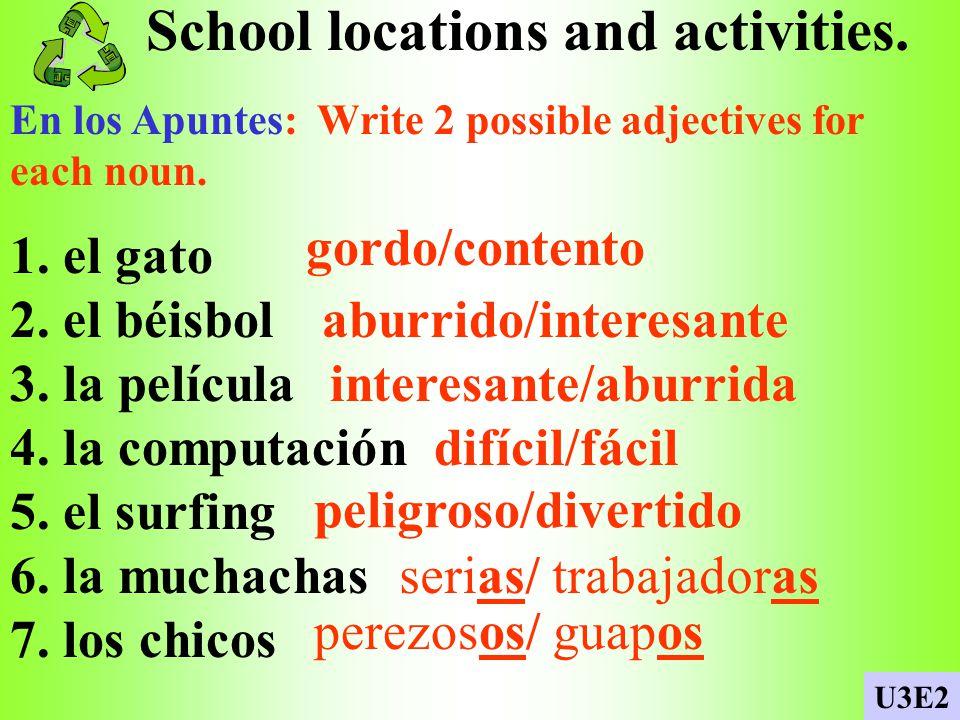 School locations and activities.