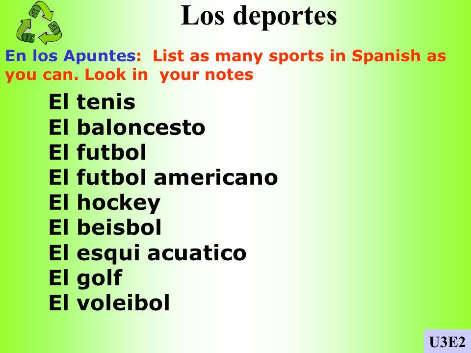 Los deportes El tenis El baloncesto El futbol El futbol americano