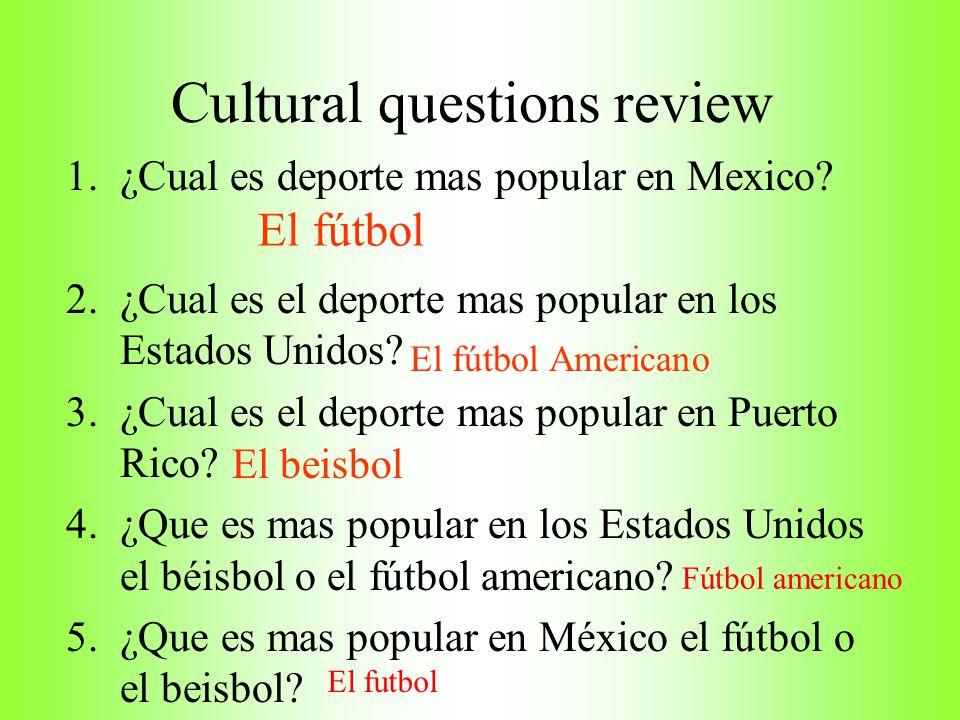 Cultural questions review
