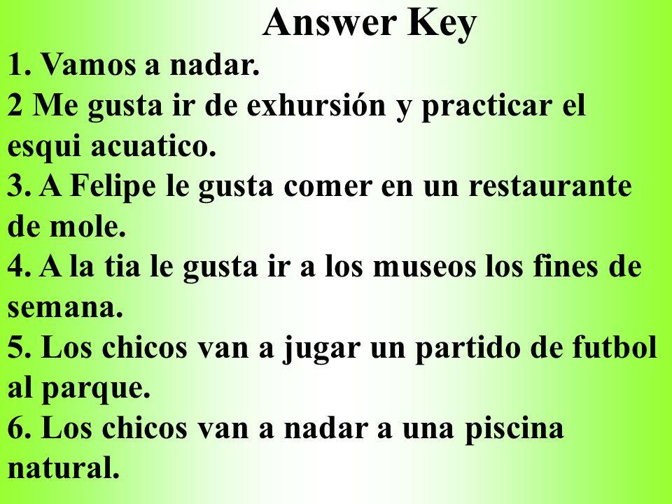 Answer Key 1. Vamos a nadar.