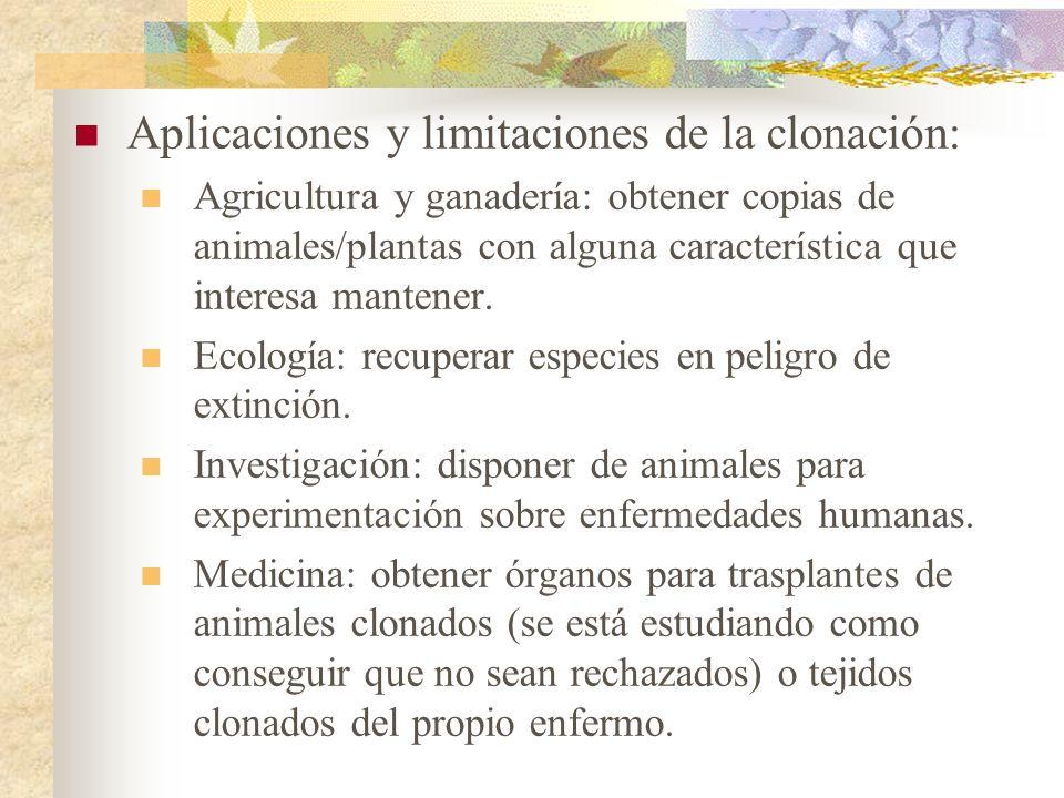 Aplicaciones y limitaciones de la clonación: