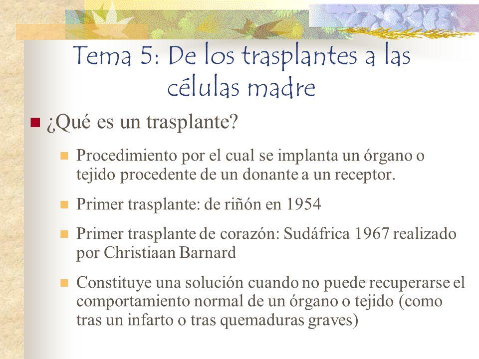 Tema 5: De los trasplantes a las células madre