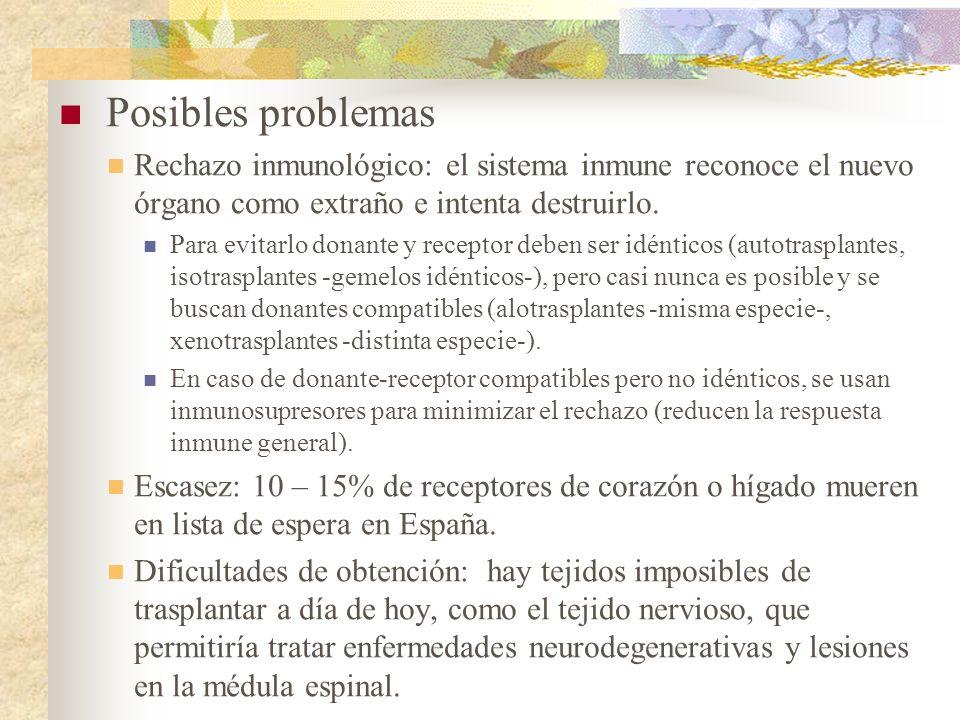 Posibles problemas Rechazo inmunológico: el sistema inmune reconoce el nuevo órgano como extraño e intenta destruirlo.