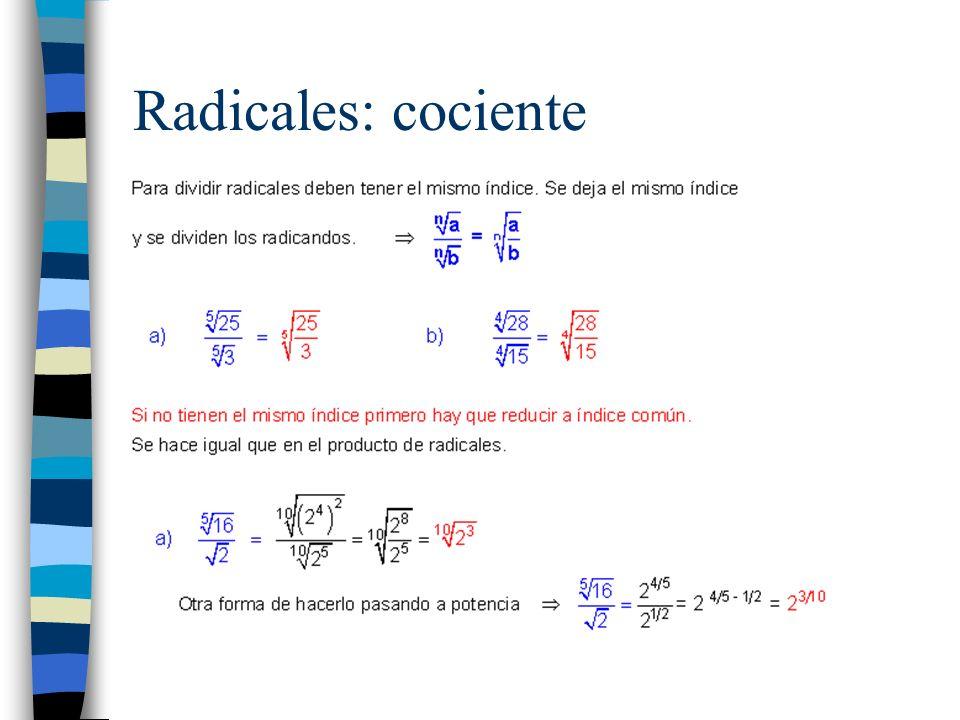 Radicales: cociente