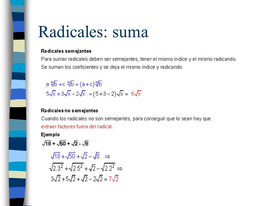 Radicales: suma