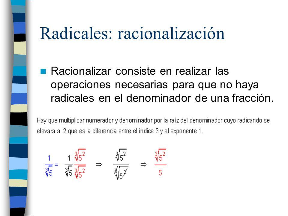 Radicales: racionalización