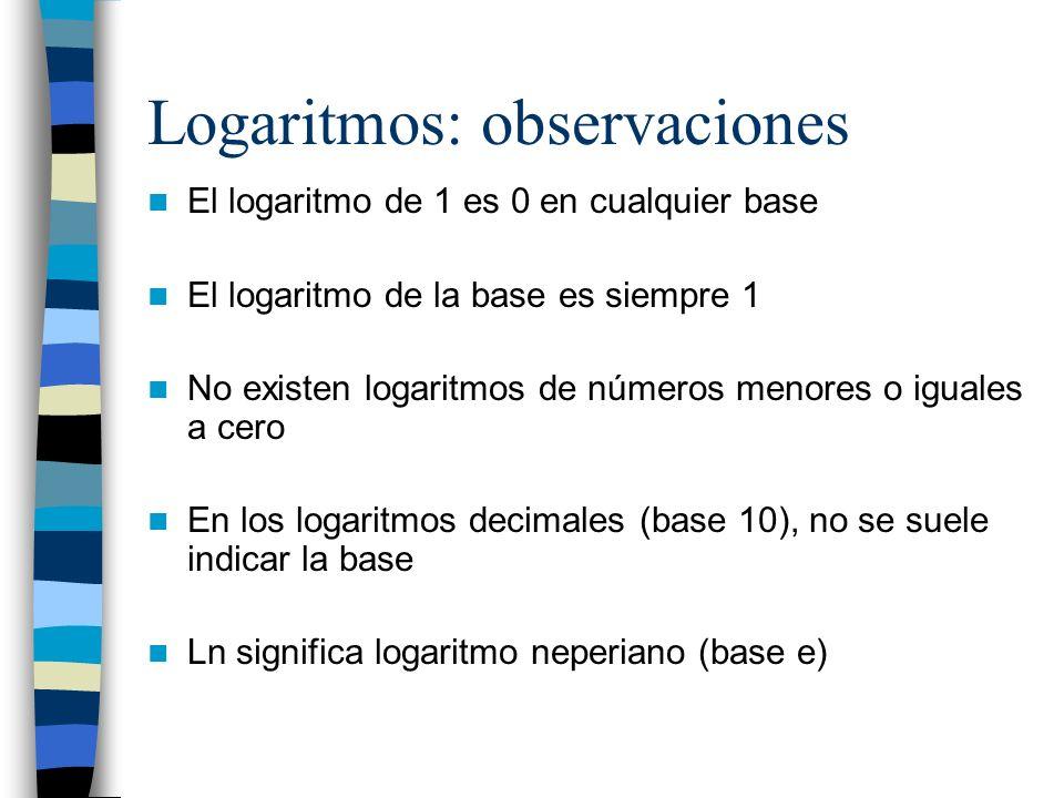 Logaritmos: observaciones
