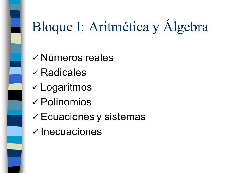 Bloque I: Aritmética y Álgebra