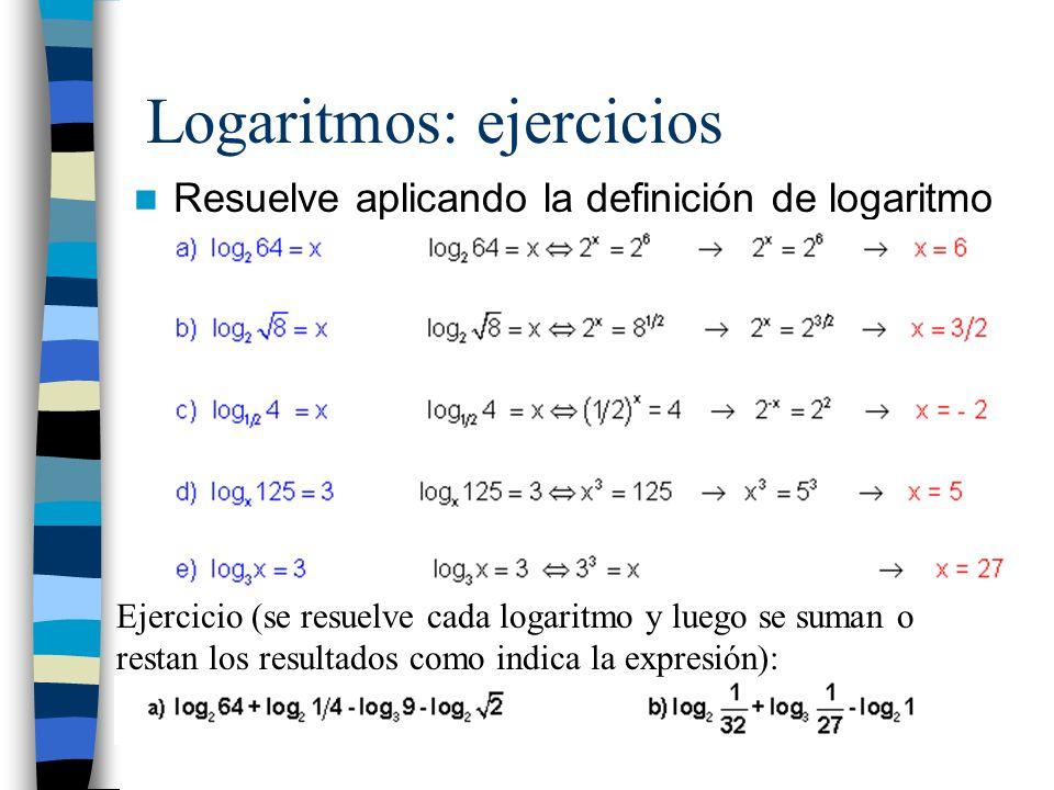 Logaritmos: ejercicios