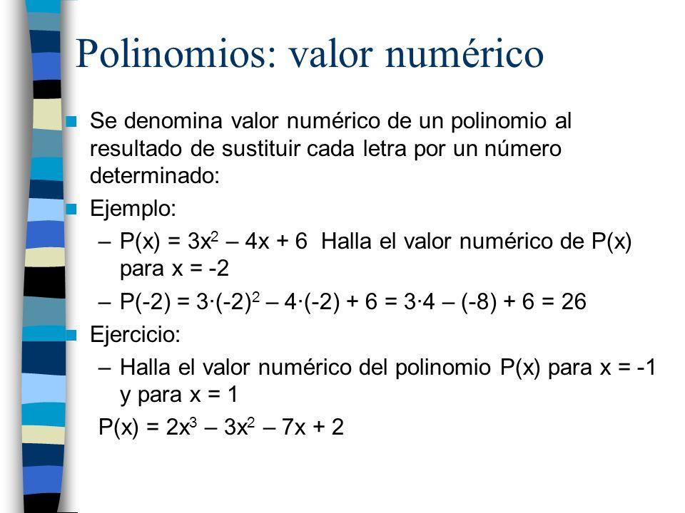 Polinomios: valor numérico