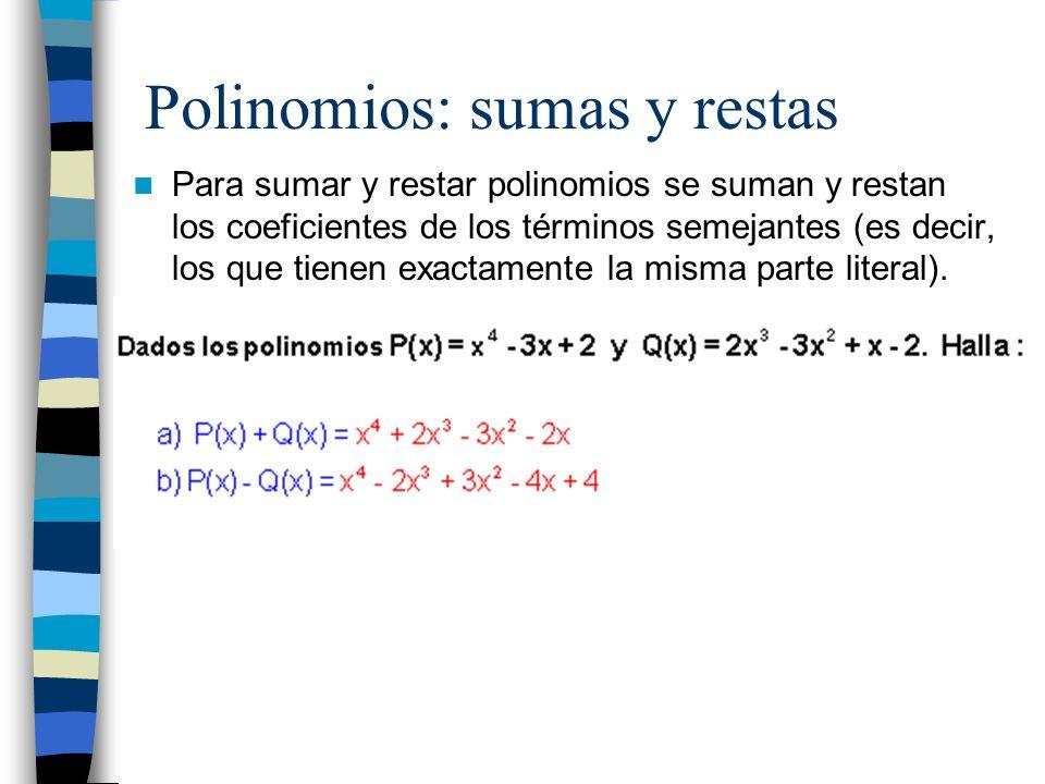 Polinomios: sumas y restas
