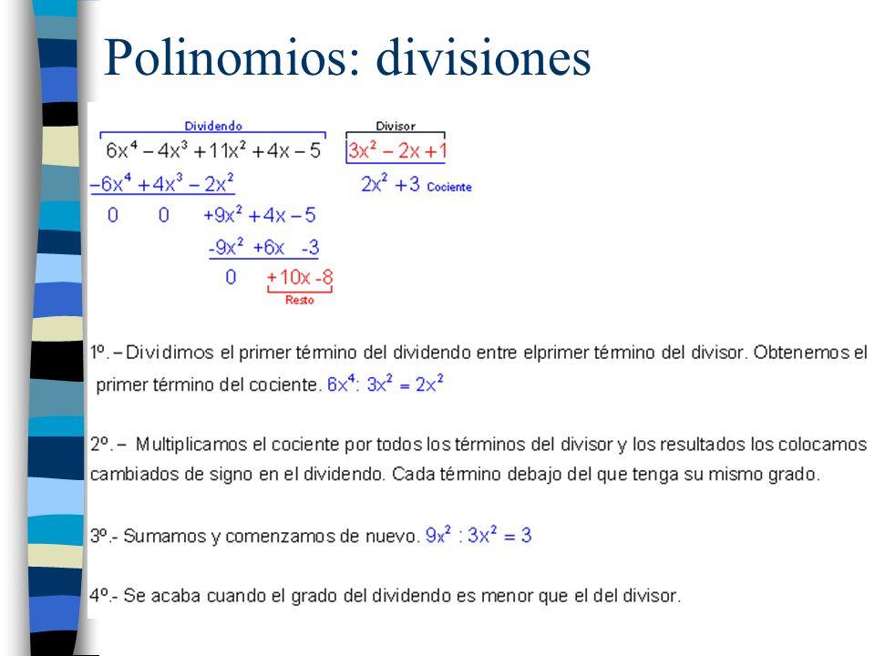 Polinomios: divisiones