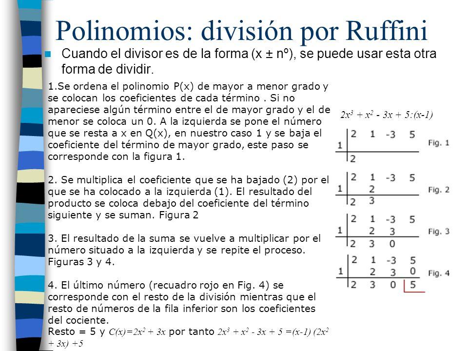 Polinomios: división por Ruffini
