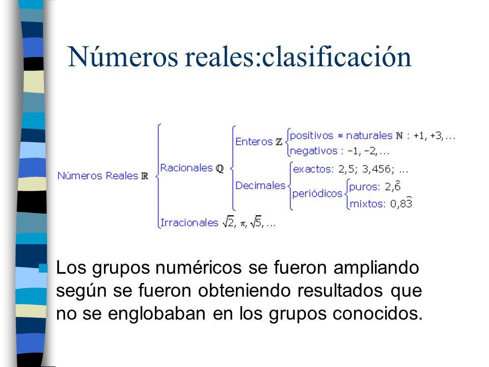 Números reales:clasificación