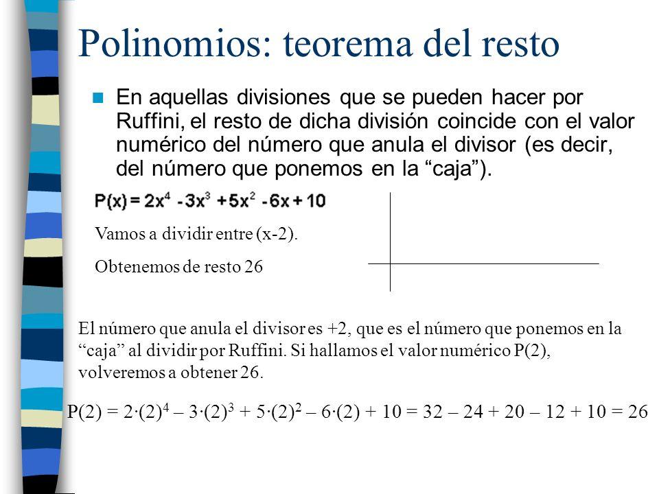 Polinomios: teorema del resto