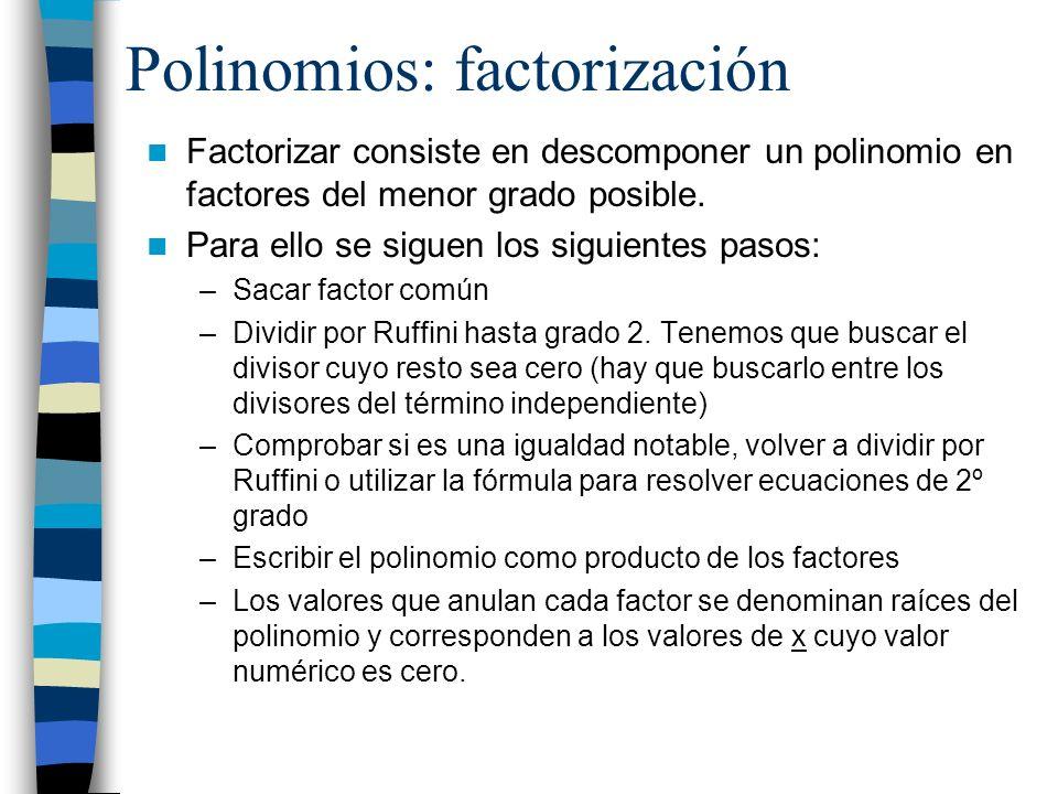 Polinomios: factorización