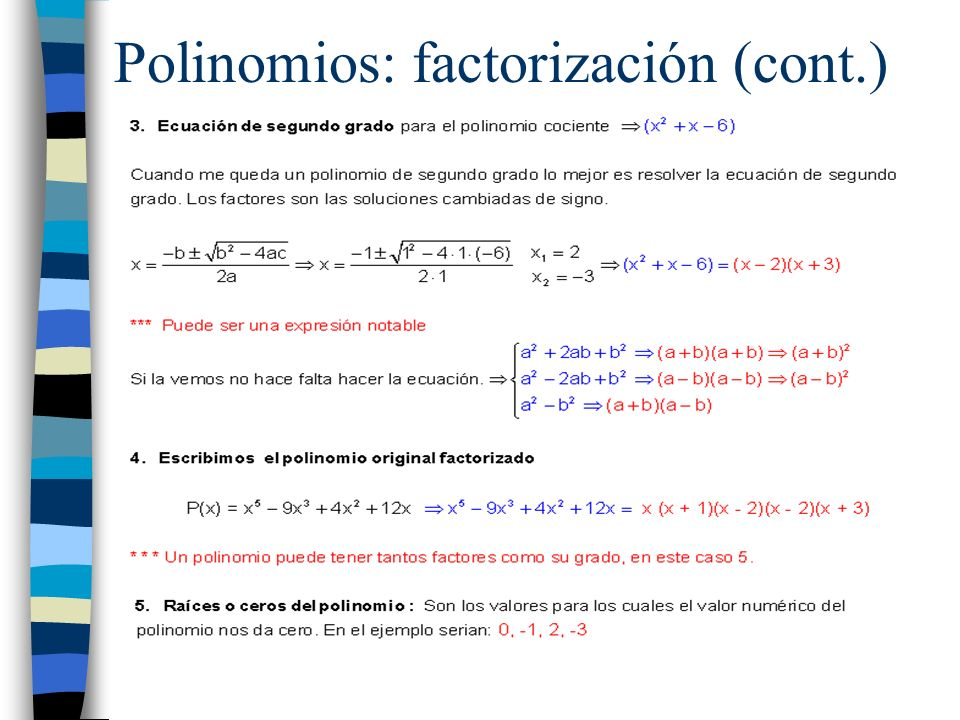 Polinomios: factorización (cont.)