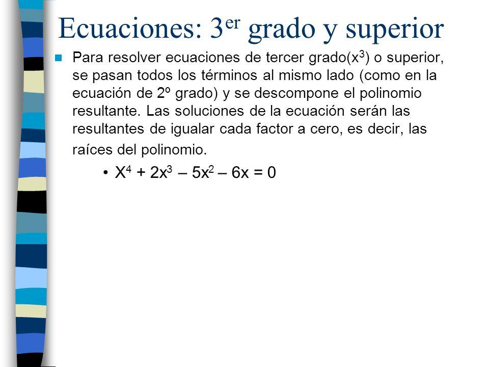 Ecuaciones: 3er grado y superior