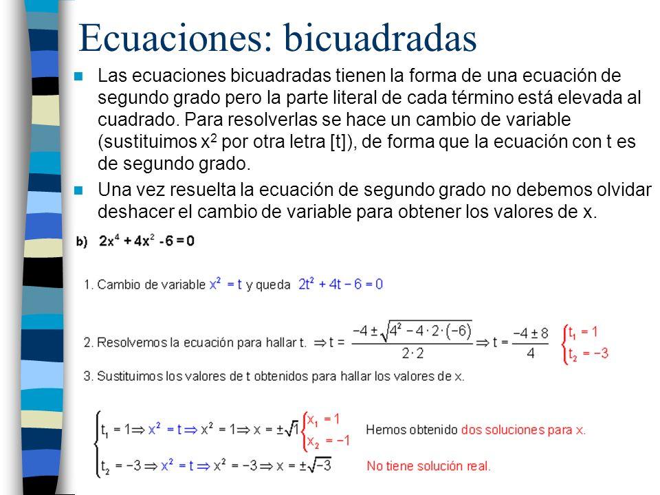 Ecuaciones: bicuadradas