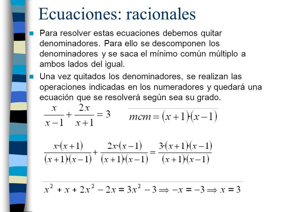 Ecuaciones: racionales