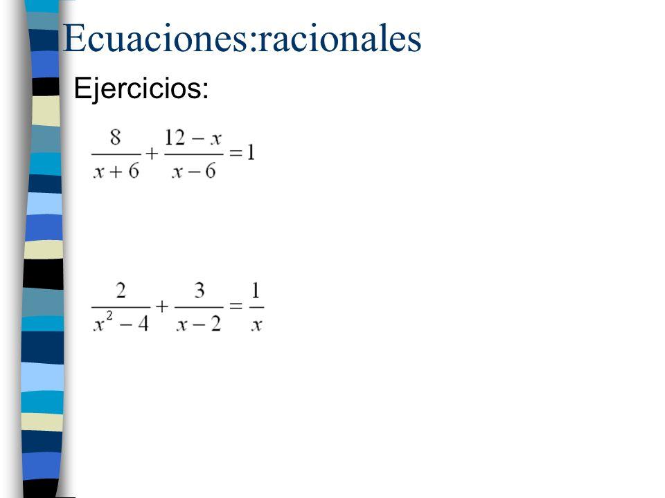 Ecuaciones:racionales
