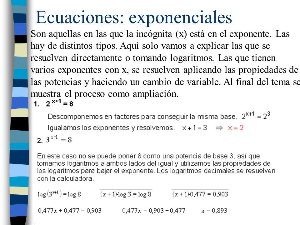 Ecuaciones: exponenciales
