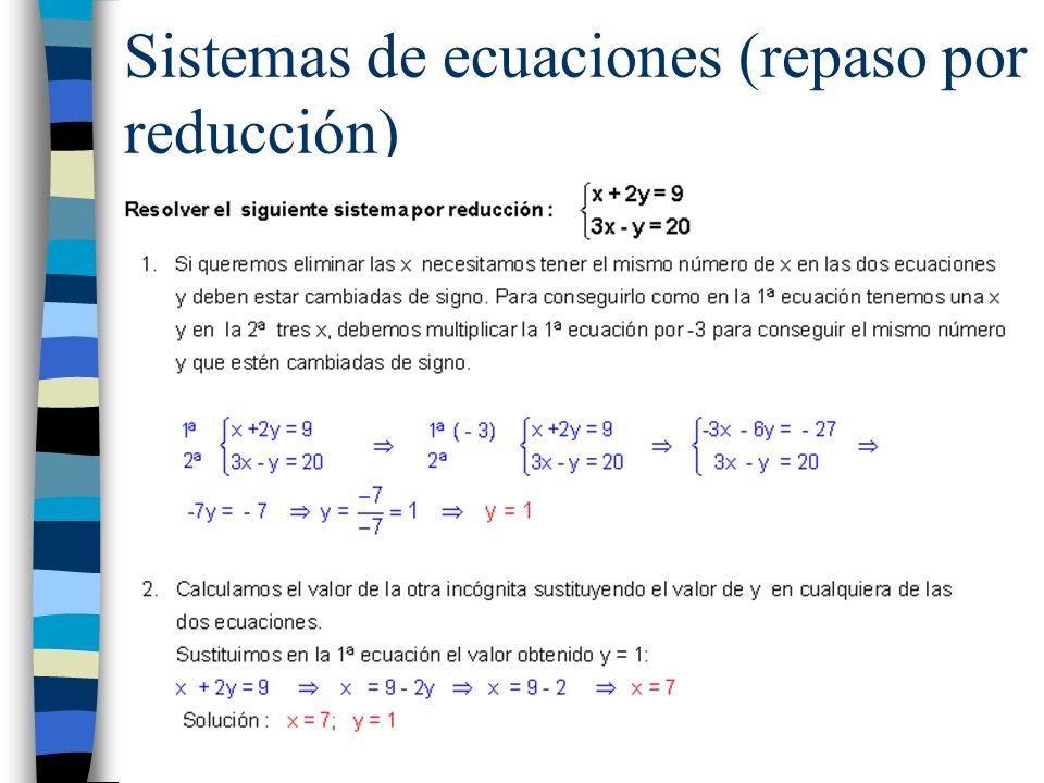 Sistemas de ecuaciones (repaso por reducción)