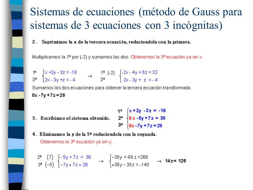 Sistemas de ecuaciones (método de Gauss para sistemas de 3 ecuaciones con 3 incógnitas)