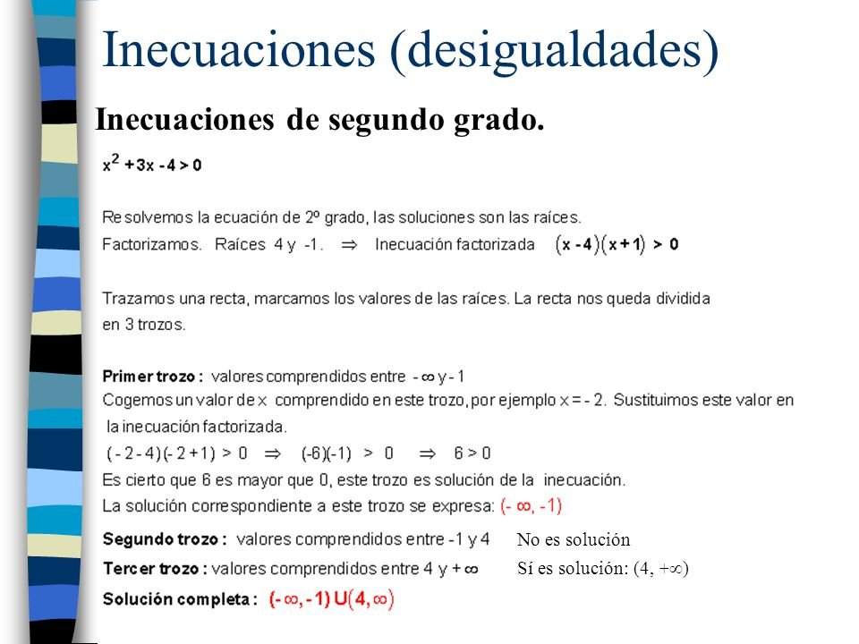 Inecuaciones (desigualdades)