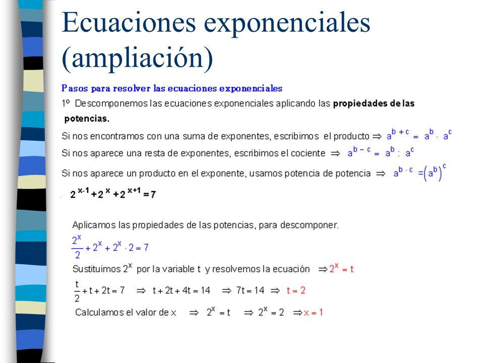 Ecuaciones exponenciales (ampliación)