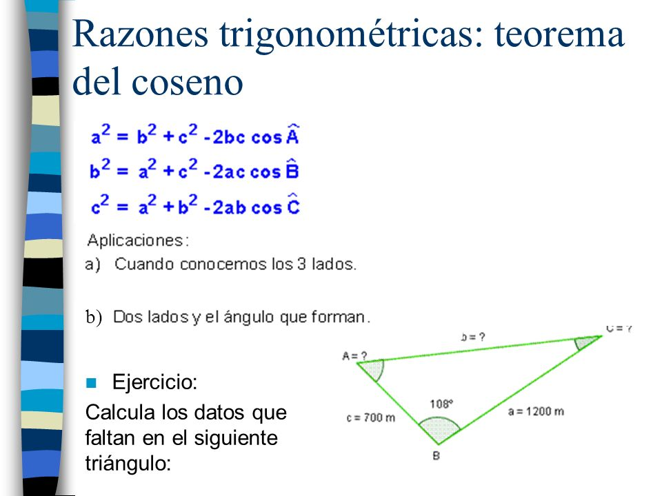 Razones trigonométricas: teorema del coseno