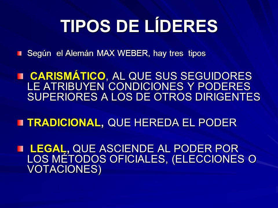 TIPOS DE LÍDERES Según el Alemán MAX WEBER, hay tres tipos.