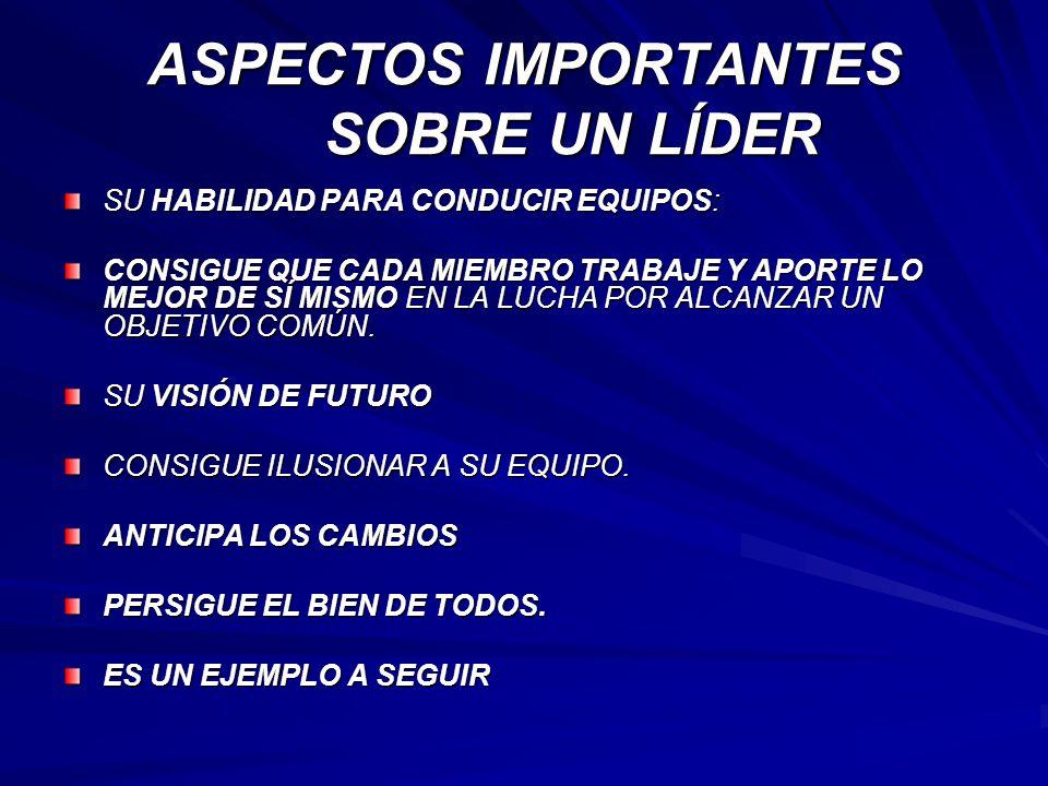 ASPECTOS IMPORTANTES SOBRE UN LÍDER
