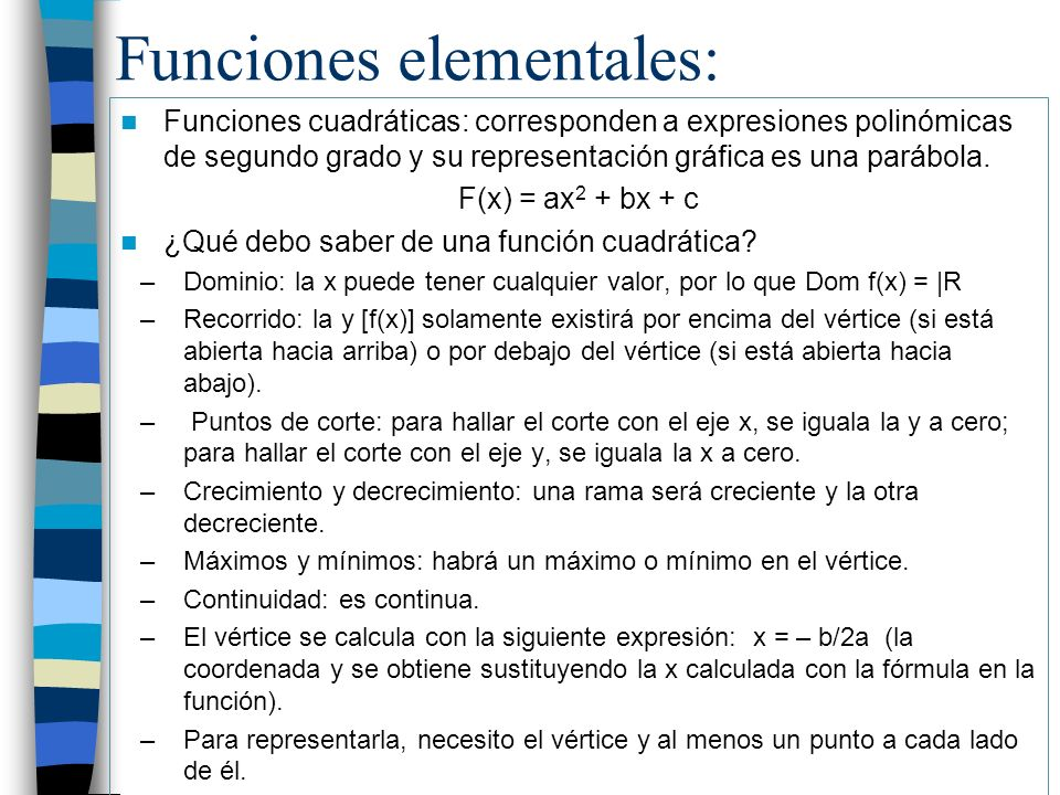 Funciones elementales: