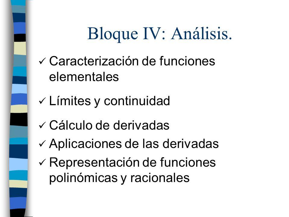 Bloque IV: Análisis. Caracterización de funciones elementales