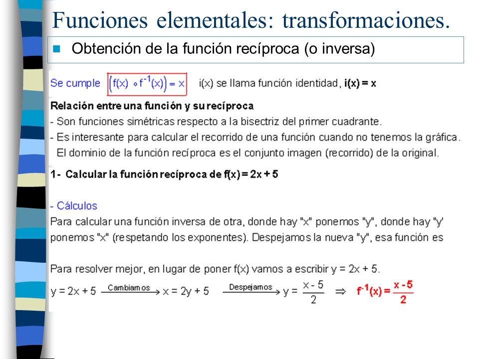 Funciones elementales: transformaciones.