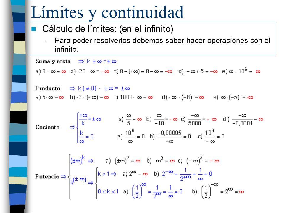 Límites y continuidad Cálculo de límites: (en el infinito)
