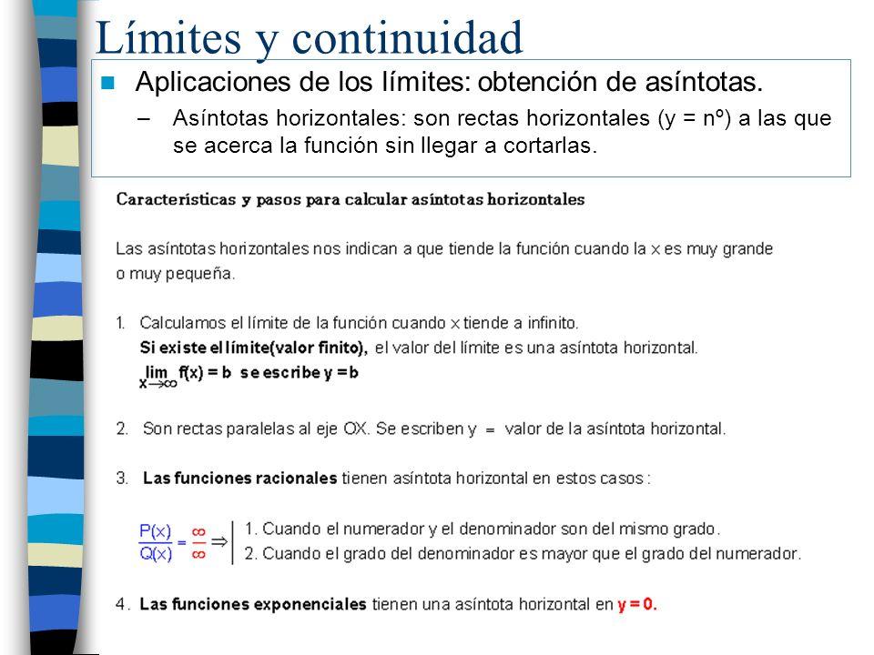 Límites y continuidad Aplicaciones de los límites: obtención de asíntotas.
