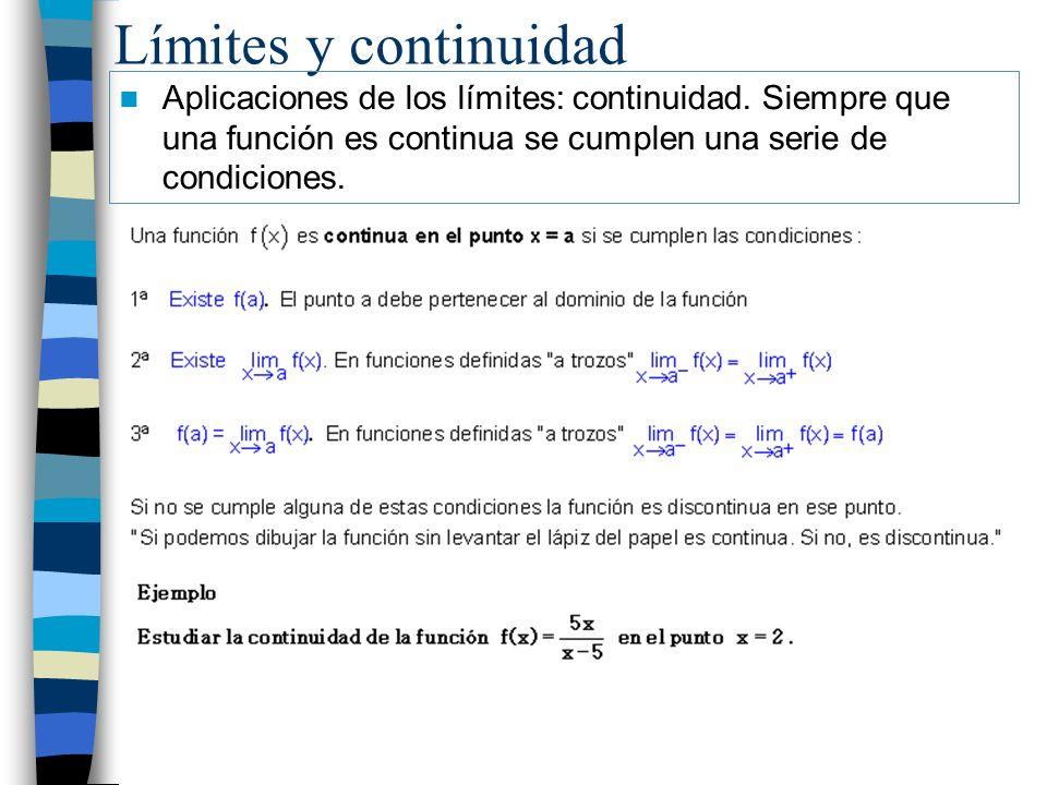 Límites y continuidad Aplicaciones de los límites: continuidad.