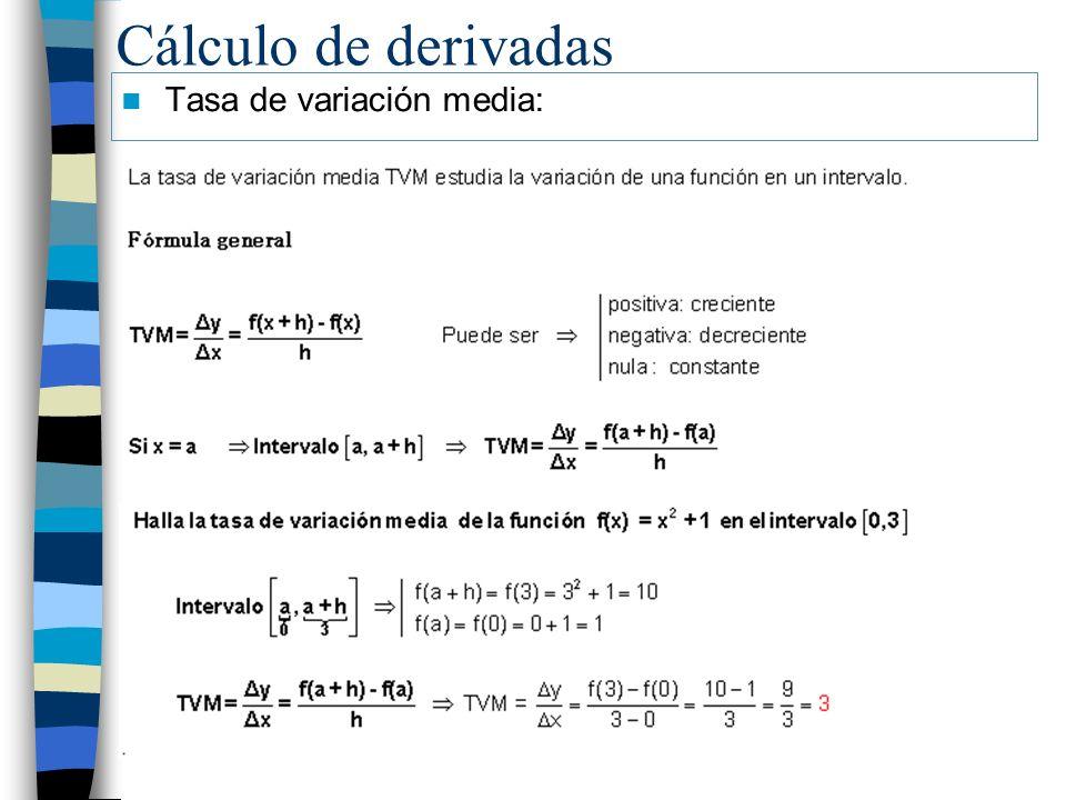 Cálculo de derivadas Tasa de variación media: