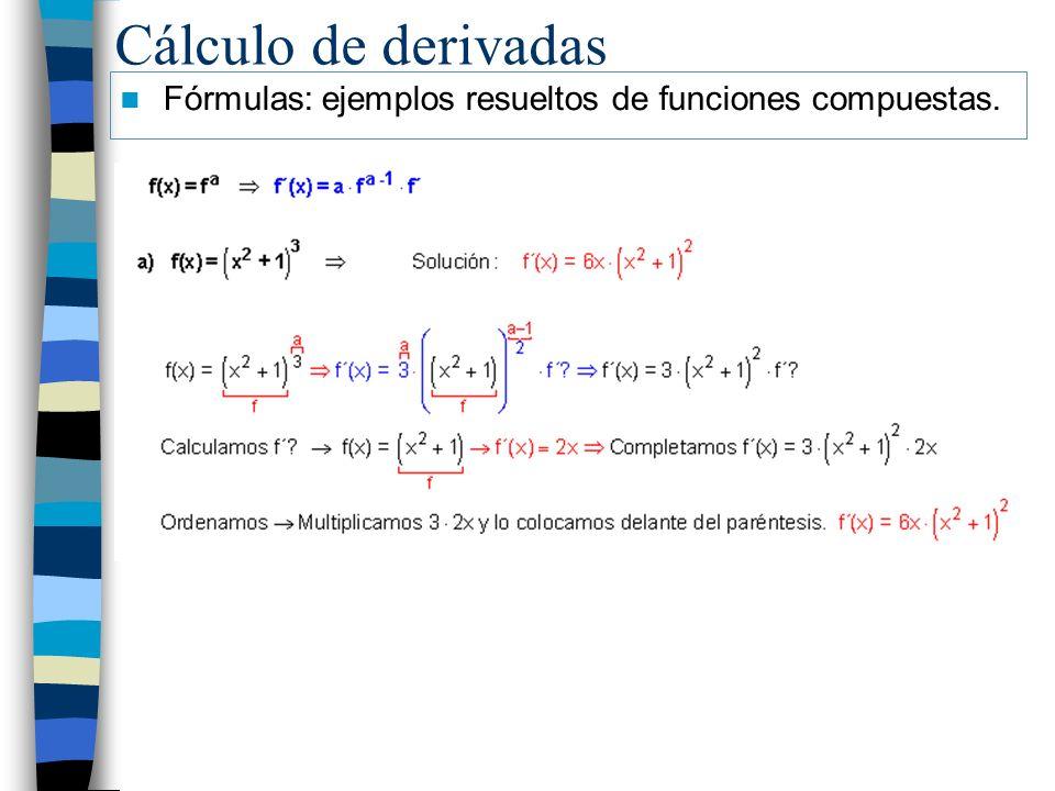 Cálculo de derivadas Fórmulas: ejemplos resueltos de funciones compuestas.