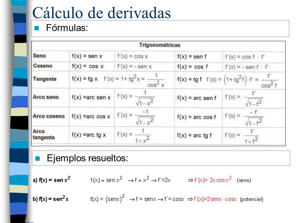Cálculo de derivadas Fórmulas: Ejemplos resueltos: