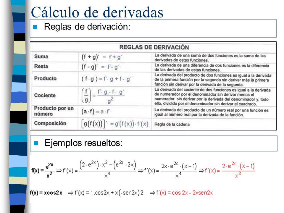 Cálculo de derivadas Reglas de derivación: Ejemplos resueltos: