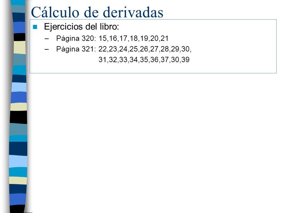 Cálculo de derivadas Ejercicios del libro: