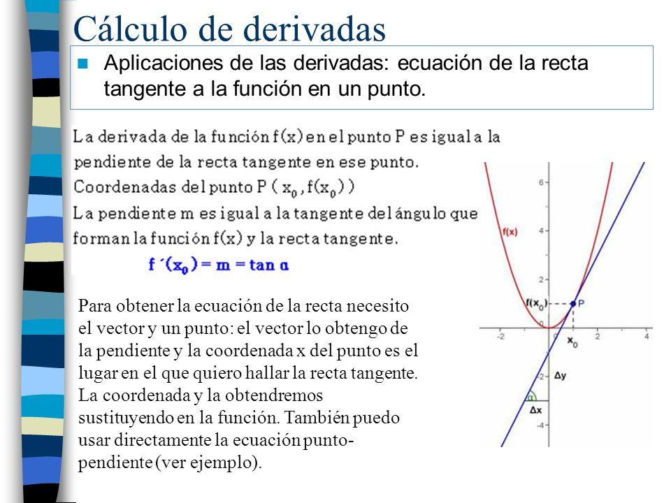 Cálculo de derivadas Aplicaciones de las derivadas: ecuación de la recta tangente a la función en un punto.